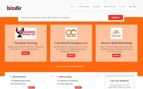 business directory template bootstrap