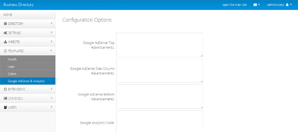 adding google adsense and google analytics in the admin panel business directory php script
