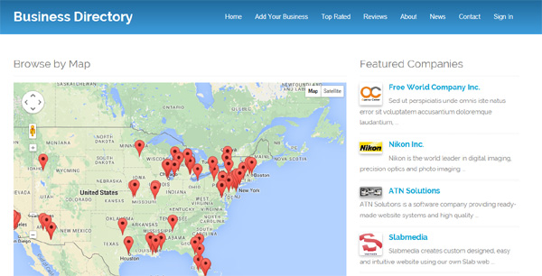 browse the listing by map business directory php script