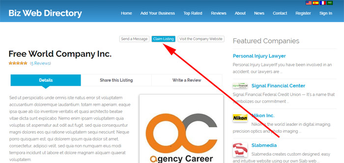 claiming a business listing business directory php script
