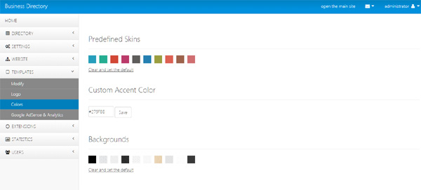 colors page in the admin panel business directory php script