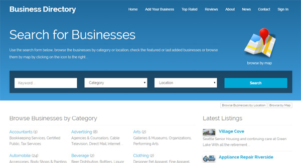 Php business directory screenshots default template for the main website php business directory wajeb Image collections