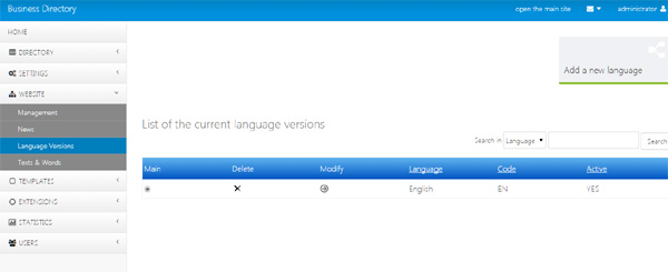 language versions management business directory php script