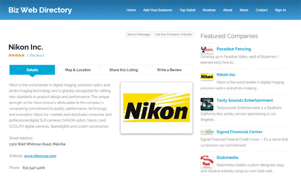 business listing details page business directory php script