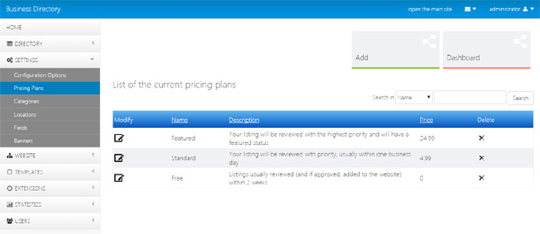 managing the pricing plans from the admin panel business directory php script