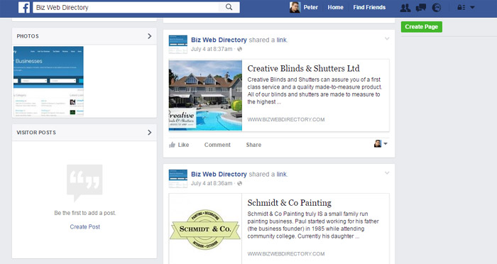 automatically sharing the business listings on a facebook business directory php script
