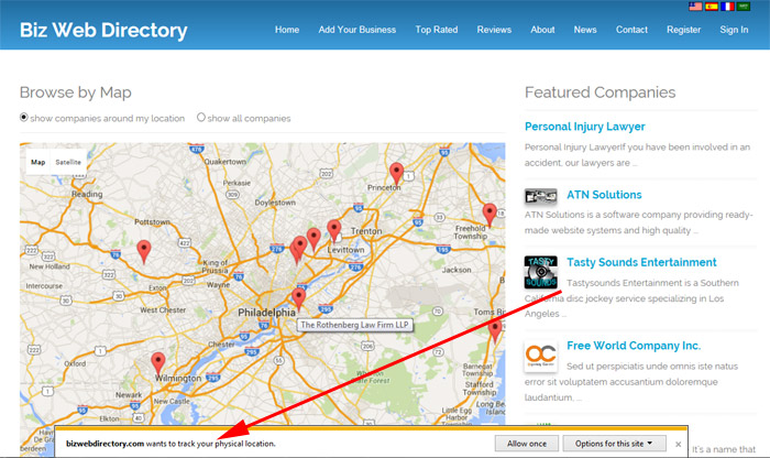 showing companies around the user's location business directory php script
