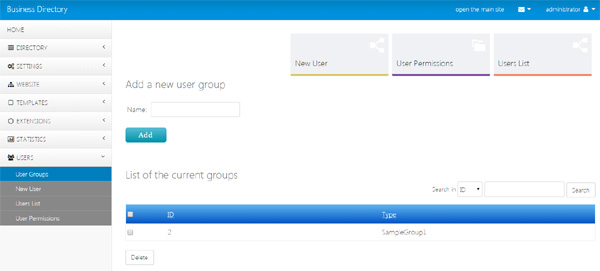 user groups and permissions business directory php script